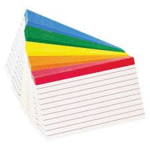 INDEX CARD RULED COLOR CODED 3X5